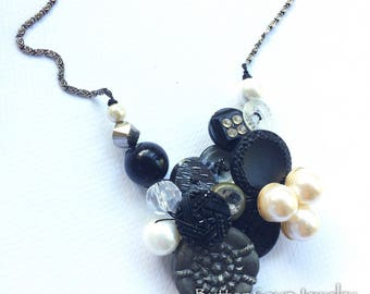 Pearl and Punk Vintage Button Necklace in Black Gray and White
