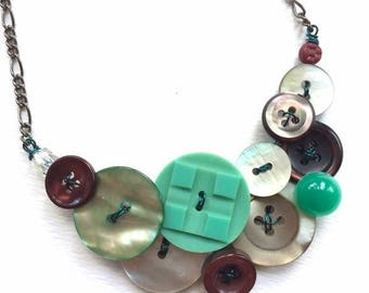 Christmas in July Sale Statement Button Statement Necklace - Mother of Pearl with aqua, white, burgundy
