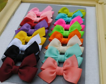 Baby Girl Hairbows - Choose 16 - Itty Bitty Hair Clips - Infant Hairbows - New Baby Gift Pack - Baby Bow Set - No Slip Tiny Hair Bows - Baby
