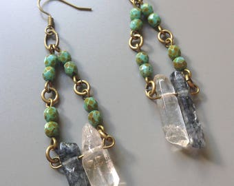 quartz crystal/glass bead earrings/ready to ship