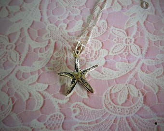 20% OFF - SUMMER CLEARANCE  Sterling Silver Starfish Necklace