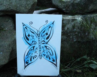 Watercolor & Ink Line Art~Butterfly Spirit Totem Card~Handmade~Painting~MGA