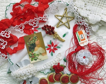 Vintage Hanky Panky Collection #5, Red Christmas Kit...Handkerchief, Lace, Fabric Image, Jewelry,Buttons & More-Collage,Fabric Arts,Supplies