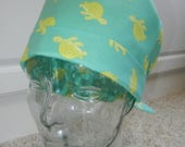 Tie Back Surgical Scrub Hat with Turtles