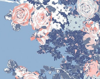 Porcelain Blue Navy Peach Coral & Cloud Blossom Floral Baby Nursery Crib Bedding Set CHOOSE and CUSTOMIZE