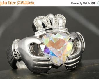 CLOSING SALE Multicolor mystic topaz large Claddagh ring  in sterling silver - Size 9