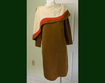 Vintage 1960's Woman's Color Block Mod Knit Dress with Front Capelet