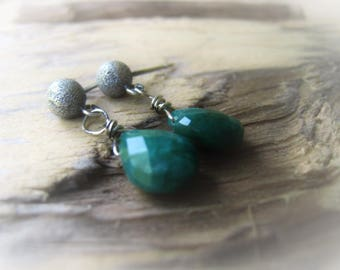 Green Emerald Teardrop Earring Pair Gemstone Earrings Silver Earrings JE2386