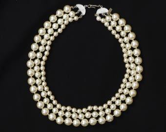 Kenneth Jay Lane Vintage Faux Pearl 3 Strand Signed Necklace