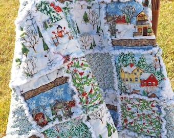 Christmas Rag Quilt - Lap Quilt - Christmas Village Quilt - Houses, Snowmen, Cardinals - Holiday Quilt
