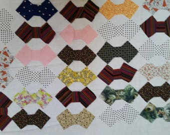 Vintage Handmade Quilt Blocks, Partial Quilt Top, and Pieced Bow Ties to Make Quilt