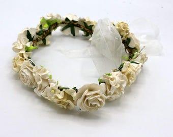Off white Flower  Bridal Crown, Floral Headdress girl headpiece bridesmaids hair accessories