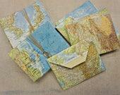 World Atlas - paper envelopes made from older Atlas book pages 1980 1990 - larger