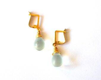 Minimalist Gold Light Blue Earrings / Light Blue Sea Glass Earrings / Gold Light Blue Earrings with Wire Wrap Frosted Blue Sea Glass Pendant