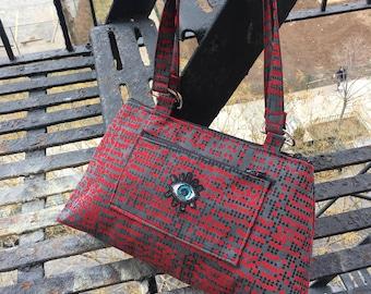 Eye Patch Red Polka Dot Upholstery Shoulder bag, Love Shine Handbag, Purse