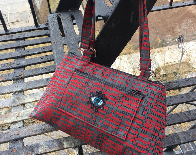 Featured listing image: Eye Patch Red Polka Dot Upholstery Shoulder bag, Love Shine Handbag, Purse
