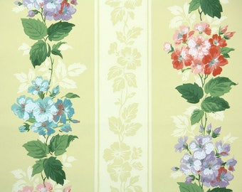 1940s Vintage Wallpaper by the Yard - Floral Wallpaper with Pink Blue and Purple Hydrangea Blooms on Yellow Stripe