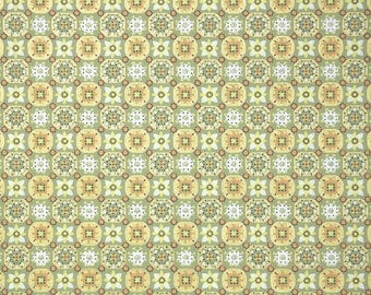 1960s Vintage Wallpaper by the Yard - Yellow and Green Geometric