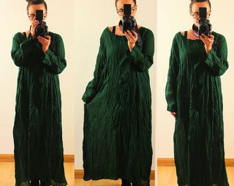 Womens Loose Fitting Linen Cotton Maxi Dress Long Sleeves Vintage Plus Size 1X 2X 14 16 18 20 Crinkle Lagenlook Dark Green