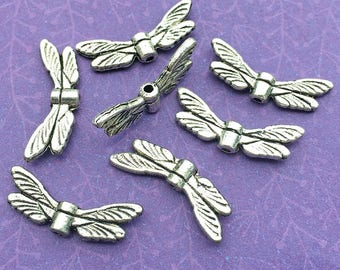 7 Wing Beads - Dragonfly Wings - Insect Wings - Flying Wings - Silver Plated - Silver Wings - Metal Wings - DIY Jewelry - TS100R