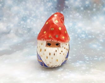 Ceramic Gnome Miniature Figurine with Gold Luster