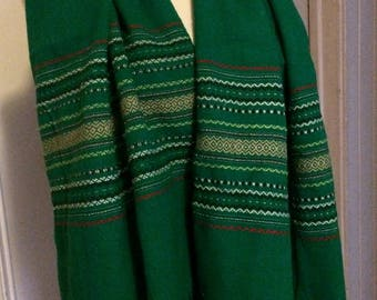 Hand Woven Wool Scarf, Emerald Green, Woven Stripes
