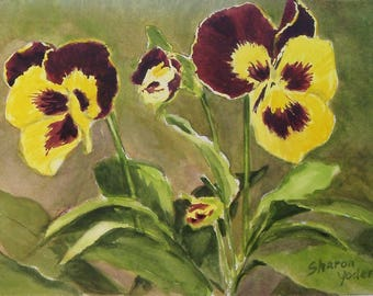 Original Watercolor Painting - Purple and Yellow Pansies - Floral Painting -  Painting of Pansies - Watercolor Painting of Flowers