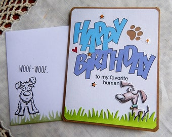 Handmade Birthday Card: dog to human, coupons, brown, blue, original verse, birthday, guy, gal, complete card, handmade, balsampondsdesign