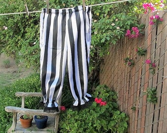 Girls Satin Bloomers MEDIUM Black White Stripe Pirate Circus Ring Master