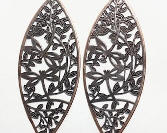 20 pcs antique copper plated stamped leaf pendant 94x36mm, extra large filigree  leaf pendant, bulk copper filigree pendant