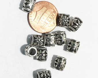 50 pcs antique Silver Drum spacer beads 8x7mm,  3.5mm hole , antique silver Barrel spacer beads, antique silver alloy spacer beads