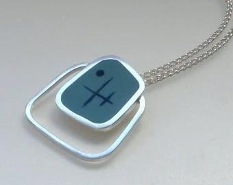 Square Pendant - Aqua Blue Pendant - Modern Jewellery - UK Jewellery - Gift for Modernist - Graphico Pendant Atomic