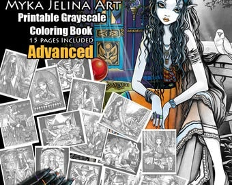 Set 1 - ADVANCED Grayscale Printable Coloring Pages - Bohemian Fantasy - Myka Jelina - Fairy Coloring Book - Coloring Pages - Instant