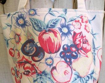 Jumbo Market Tote vintage retro tablecloth fruit fabric Flea Market handbag RDT FVGteam ECS OFGteam SVFteam