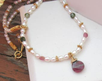 The Beach Necklace, Watermelon Tourmaline Beaded Necklace, Pearl Necklace, Gold Vermeil, 18 inch Necklace, Pearls by Maggie McMane Designs