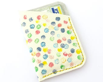 Artisan Hand Painted Leather Wallet Hand Stitched Leather Polka Dot Card Holder Credit Card Holder Mini Wallet Summer Accessory