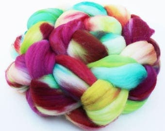 "Superwash Merino Wool Spinning Fiber, Hand-dyed Kettle Dyed 4 oz, ""Sparkler"" Magenta Lime Green Aqua Red Teal"