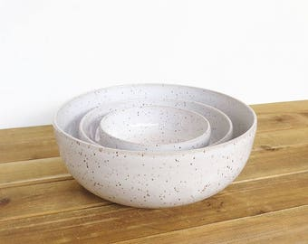Stoneware Pottery Nesting Bowls in Glossy White Glaze, Ceramic, Rustic Speckled Kitchen Bowls - Set of 3