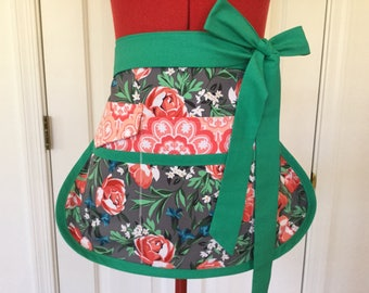 Bed of Roses Sassy Half Vendor Apron, Womens Misses and Plus Sizes, Teacher Aprons, Crafts, Utility, Gardening, Farmers Market, Sewing