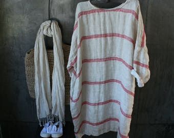 Monaco Linen Dress with Red Stripe