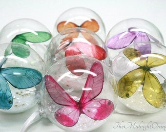 Butterfly Ornament - colored butterfly in glass bauble - beautiful memorial ornament - you choose from selection of rainbow colors