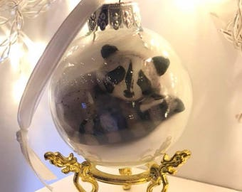 Glass ornament with sleepy woodland raccoon art print inside - stand not included