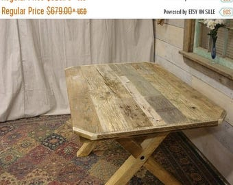 "ON SALE Driftwood Trestle Table (48"" x 32"" x 30""H) with 45 degree corners (Custom Request new pictures coming)"