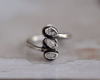 Herkimer Diamond Ring - Herkimer Bezel Ring - Oxidized Sterling Silver Ring - Raw Quartz Ring - Herkimer Quartz Ring - Simple Statement Ring