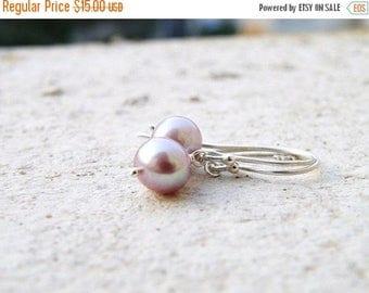 Summer Sale Mauve Pearl Sterling Silver Earrings PE7 Wedding Jewelry