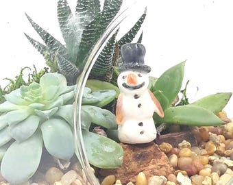 little snowman - terrarium miniatures
