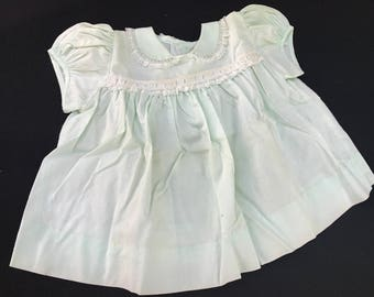 Vintage 1960's Era Pale Green Baby Girl Dress with White Lace