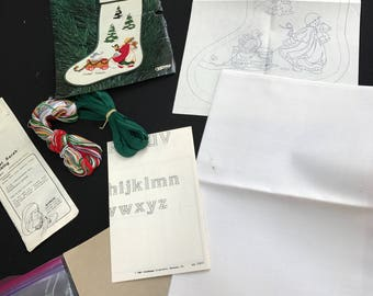 Vintage New in Package Needlepunch Kit to Make a Christmas Stocking