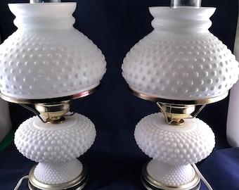 Pair of Vintage Milkglass Milk Glass Hobnail Dresser or Boudoir Lamps
