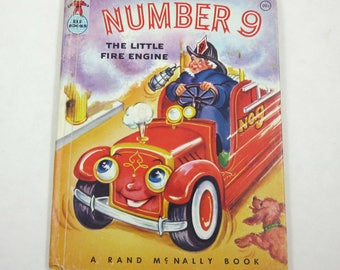 Number 9 The Little Fire Engine Vintage 1950s Rand McNally Anthropomorphic Children's Book by Wallace Wadsworth Illustrator Eleanor Corwin